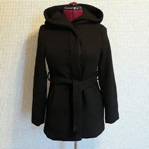 Short, black, hooded coat